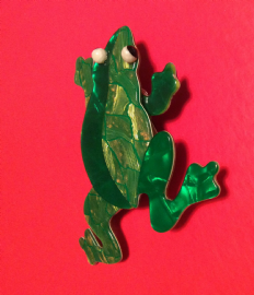 Frog Brooch Signed Lea Stein, Paris -  Green and Gold  (SOLD)